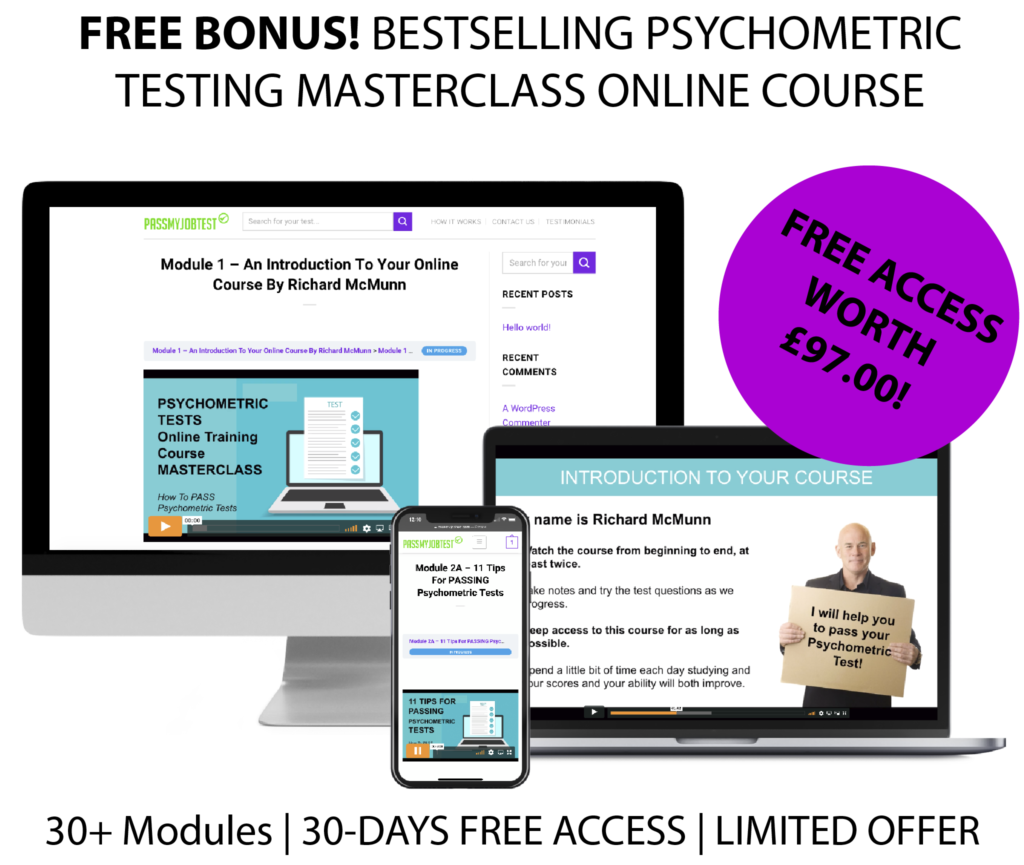 Online free psychometric test questions and answers training course