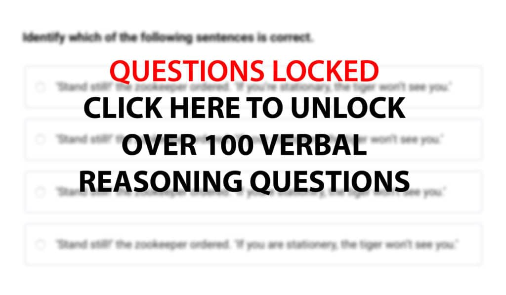 Verbal Reasoning Practice Questions and Answers
